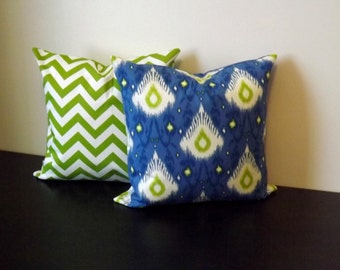 Decorative Throw Pillow Covers, SET OF TWO 14x14,16x16,18x18,Blue Ikat and Chartreuse Chevron Covers, Accent Pillow Covers