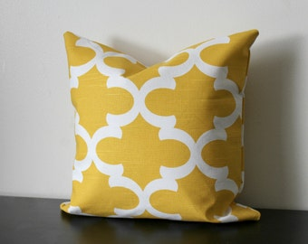 Decorative Throw Pillow Cover, Yellow and White Pillow,16x16,18x18, Throw Pillow, Accent Pillow, Toss Pillow, Bedroom Pillow, Sofa Pillow
