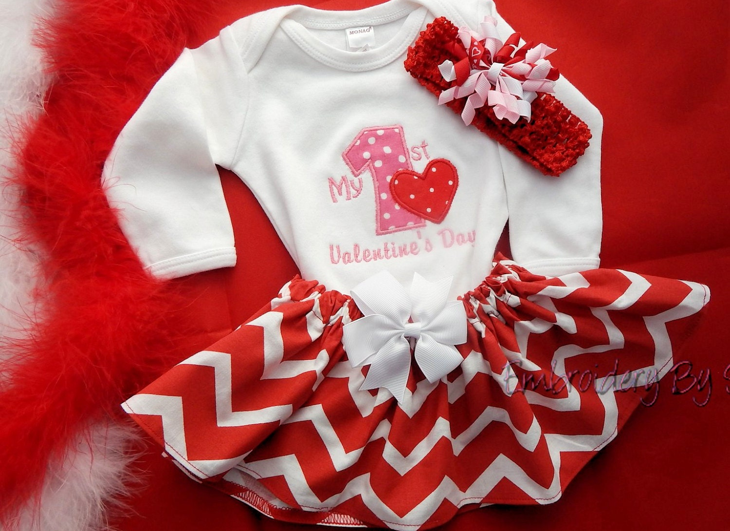 Baby Girlu0026#39;s First Valentineu0026#39;s Day Outfit By EmbroiderybySharon