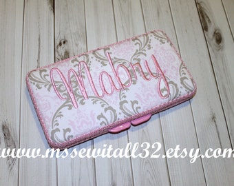 Custom Pink and Taupe Damask Diaper Wipes Case