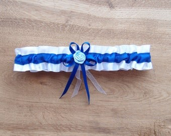Wedding Garter, White Garter, Dark Blue Bridal Garter, Toss Garter, Keepsake Garter, Blue Bridal Garters, Something Blue, Sailor Garter
