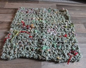 OOAK Hand Crochet, Baby Blanket in Grey/Green handspun, hand dyed wool