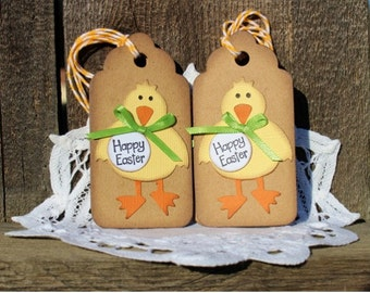 Easter Gift Tags - Set of 6 Handmade Tags - Happy Easter Chick with Bow