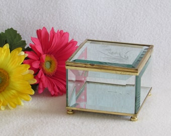 Etched Glass and Brass Mirrored Footed Box