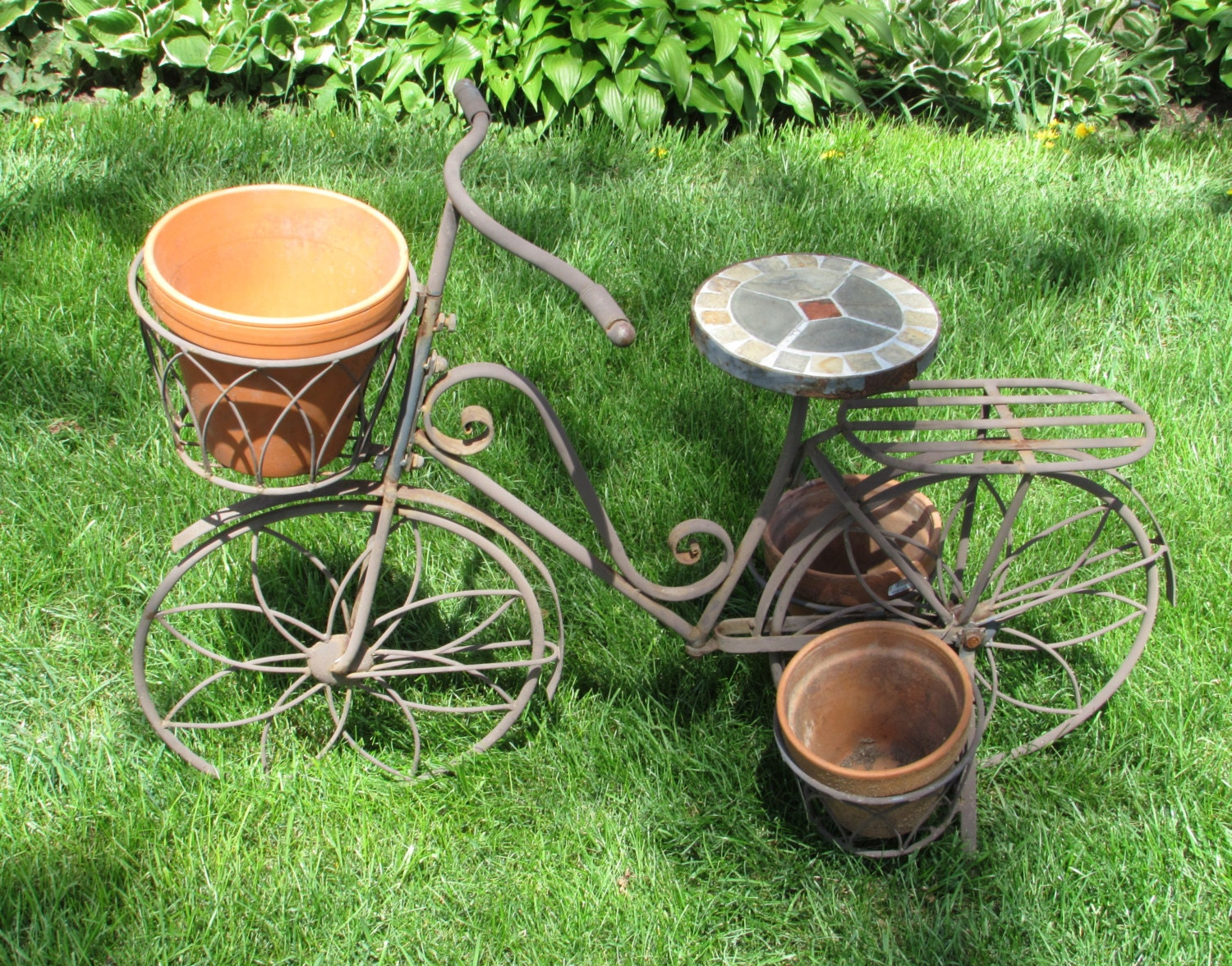 Large metal and tile bicycle planter plant stand by dayjahview - Bicycle planter stand ...