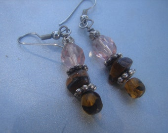 Dangle Earrings with Pink, Brown, and Tiger Eye 884.