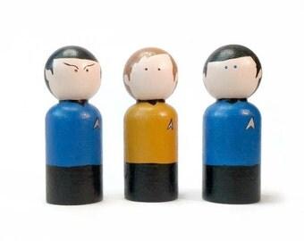 Mini Star Trek Wooden Peg Dolls, Painted Star Trek Spock, Captain Kirk