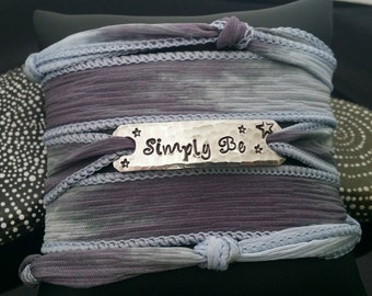 Simply Be Hand stamped silk wrap bracelet with magnetic clasp closure hand dyed silk D2E