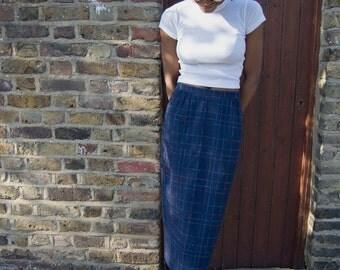 Breezy Blue Vintage Wool Midi Skirt