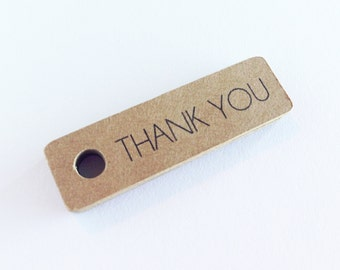 50 - Kraft Thank You Gift Tags - Hang Tags, Handmade, Wedding, Parcel, Packaging, Birthday, Favor Tags