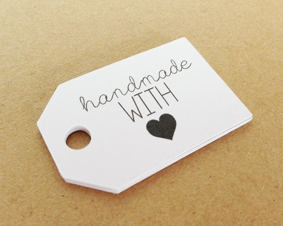 "White HANDMADE With Love Tags. 2.0 X 1.25"" Hang Tags. Packaging. Thank You Tags. Business Tags. Custom Packaging. Gift Tags. Labels."