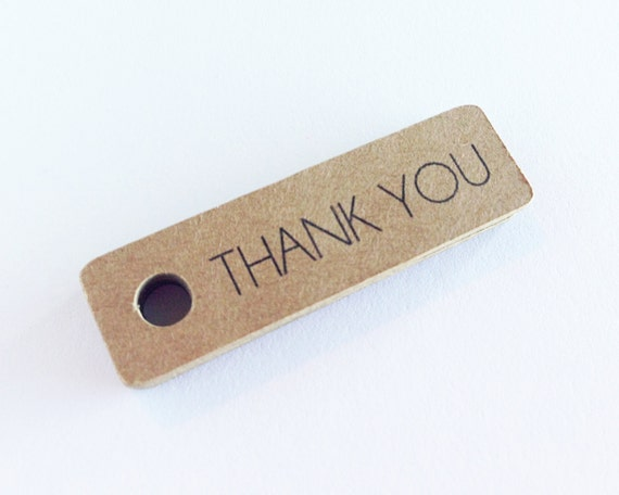 50 - Kraft Thank You Gift Tags - Hang Tags. Wedding Favor Tags. Etsy Shop Supplies. Handmade Packaging. Small Tags.