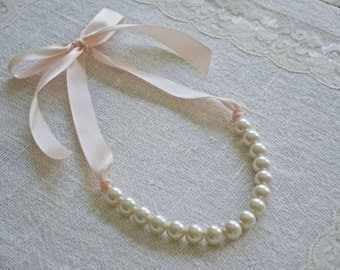 Mini Elizabeth: Beautiful Large Ivory Pearl Necklace with Blush Ribbon Tie - Little Girl or Bridesmaid