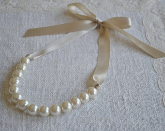 Elizabeth: Beautiful Large Pearl Necklace with Ribbon Tie - Ivory Pearls and Champagne Ribbon