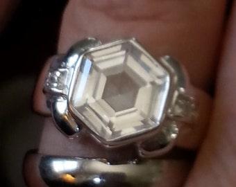 Vintage Modern Art Deco Style Engagement Ring Wedding Ring
