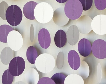 Purple and White Graduation Garland, Purple Wedding Decorations, Purple Birthday Party, Graduation Decoration, 10 ft. long