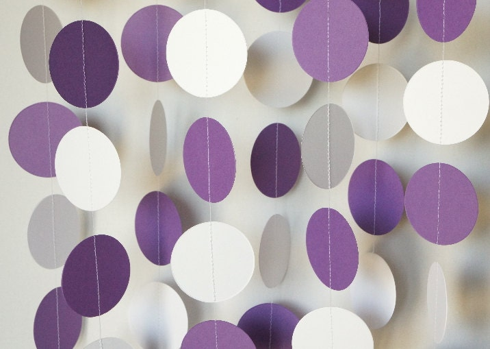 Purple and white graduation garland purple wedding - White and purple decorations ...