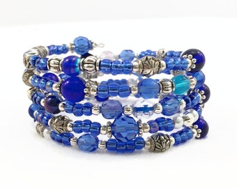 Blue and Silver Metal and Glass Bead Memory Wire Bracelet