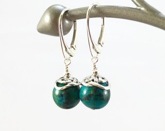 Green Azurite and Silver Earrings