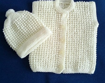 Hand knitted baby set 2 parts white vest hat cap toddler boy girl 6-12 months