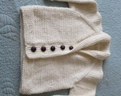 Hand knit shawl collar off white little boy or little girl's cardigan