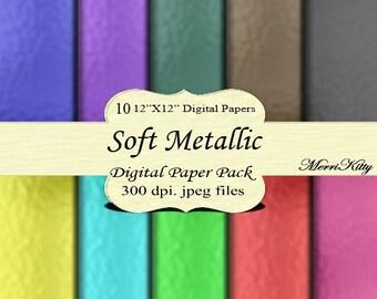 "Instant Download - Digital Scrapbook Paper Pack - Soft Metallic - MK43 - 10 12""x12"" Digital Papers - Collage Sheets - Scrapbooking, Paper"