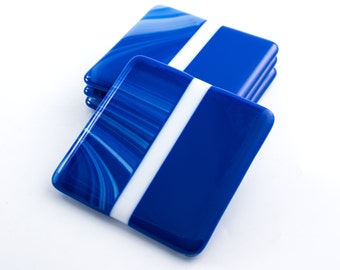Cobalt Blue Modern Coasters, Blue Home Decor, Fused Glass, Set of 4, Tabletop Display, Bar Accessories, Unique Gifts for Men