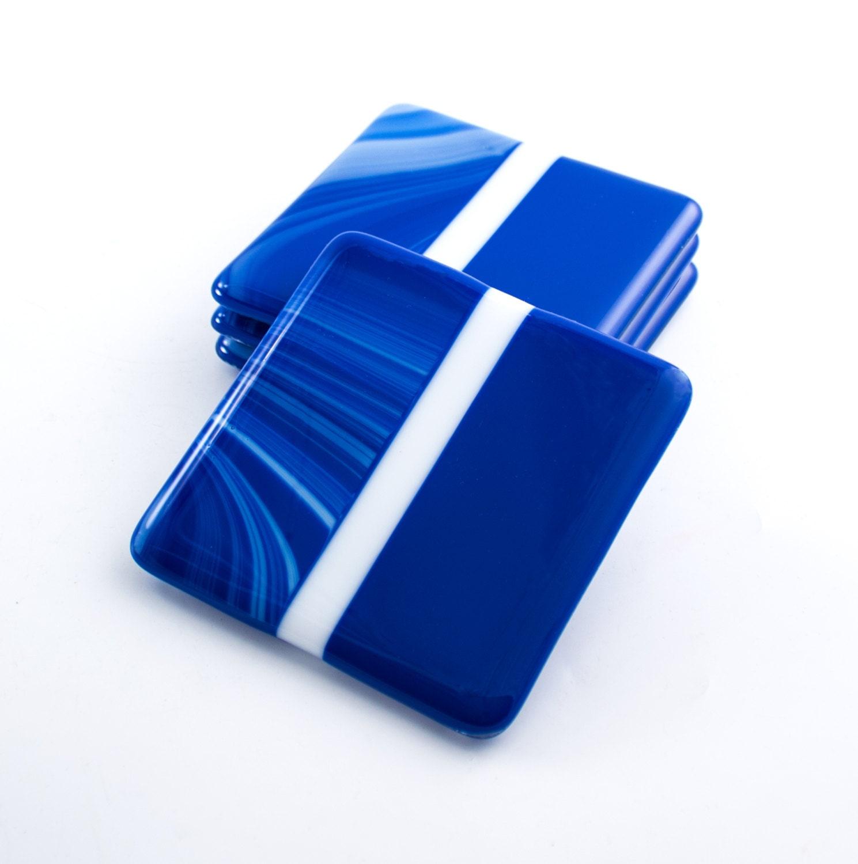 Cobalt Blue Modern Coasters Blue Home Decor Fused Glass Set
