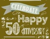 Wedding Wine Labels, Custom Wine Labels, Wine Wedding favor, Anniversary labels - 50th Anniversary - 6 labels, Sparkling Cider, Champagne