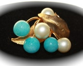 Vintage Marvella Gold and Pearl Brooch, Pin with blue accent, Large Pin in Metal and Beads