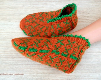 Turkish Anatolian hand knitted women's orange colour slippers, slipper socks, house shoes.