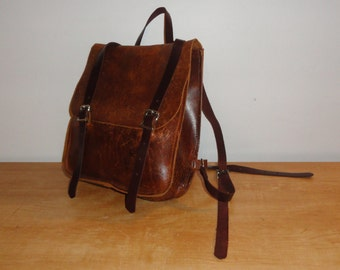 Vintage Distressed Rich Cognac Brown Leather Backpack/Bookbag Rucksack