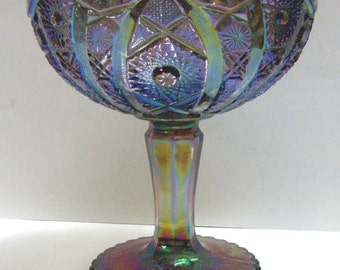 Imperial Glass Octagon Footed Large Compote in Iridescent Smoke (AKA Peacock)
