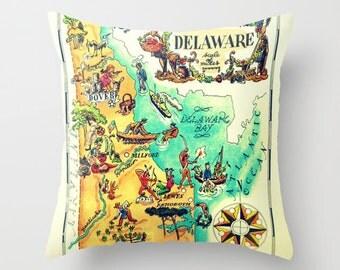 Illustrated Delaware pillow cover, Delaware State Map Pillow, Camper pillows, Delaware throw pillow DE Map Pictorial Map, Camper Decor, RV