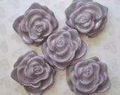 Purple Resin Charms - 5 Mauve Flower Pendant Charms - Jumbo Purple Rose Pendant Charm - Orchid Flower Charm - Jumbo Lilac Bracelet Beads