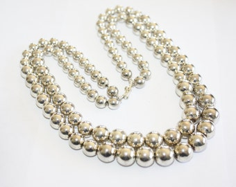 Vintage 2 Strand Silver Plate Bead Necklace 1970s Jewelry