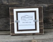 4x4 Picture Frame - Distressed Wood - Double Mats - Holds a 4x4 Photo - Chocolate Brown & White