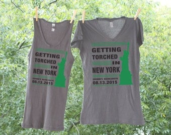 Getting Torched in New York Bachelorette Bash Personalized Bachelorette Party Shirts - Sets - AH