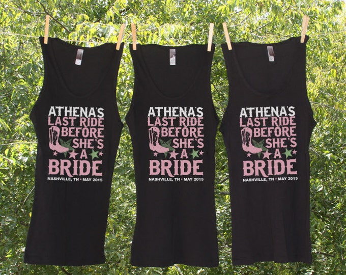 Last Ride Before She's The Bride Bachelorette Party Shirts Personalized with name and date