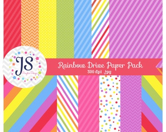 INSTANT DOWNLOAD, rainbow drive digital scrapbooking papers, rainbow printable papers, party paper, for commercial and personal use