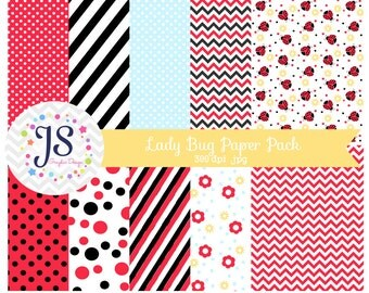 INSTANT DOWNLOAD,Lady Bug Paper Pack, Lady Bug Party Backgrounds for personal or commercial use