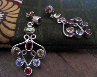 Splendid Vintage Multistones Earrings from India