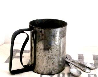 Primitive Tin Flour Sifter, Vintage Metal Flour Sifter, Cottage Cabin Farmhouse Decor,  Mid Century, 1950s **  Epsteam ** Treasury