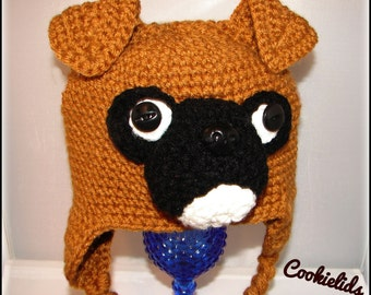 Crocheted dog boxer hat