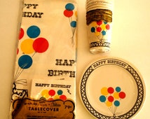 Super Adorable Vintage Happy Birthday Party Set: Tablecloth, Napkins, Cups, Plates with Balloon Design 1960s 60s Pakay Gibson