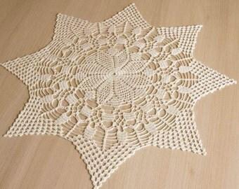 """SALE 10% OFF: Large crochet doily White elegant lace doilies Table decor Crochet centerpiece Large lace doily Home decor 22"""" doily"""