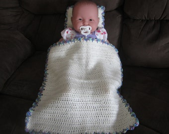 Soft White and Blue, Purple, Yellow Crocheted Baby Doll Blanket/Quilt and Pillow Set