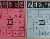 Vintage Music BINGO Card Pink Blue - 1960s  Ephemera Game Pieces for Altered Art, Mixed Media, Decor G101