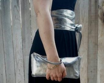 Silver Leather Clutch Bag - Wristlet Bags - Fashion Evening Handbag - Wedding Purse - cosmos2