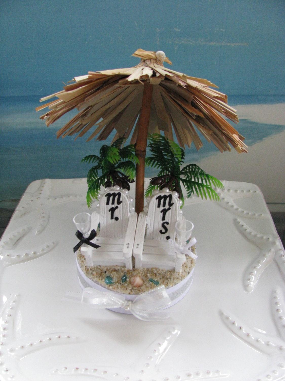 Tiki Umbrella Wedding Cake TopperAdirondack Chairs Beach